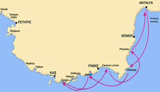 Antalya-Kekova-Antalya blue voyage map