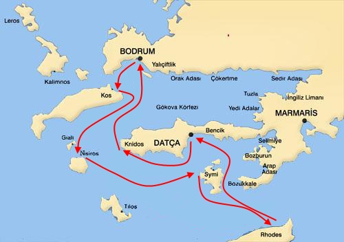 Bodrum-South Dodecanese Blue Voyage Map