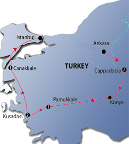 Highlights of Turkey 6 Nights Tour Map