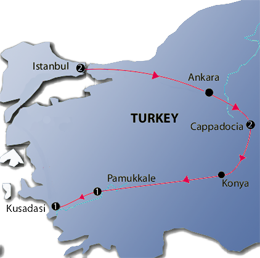 Pearls of Turkey 6 Nights Tour Map