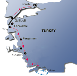 Western Turkey and Marmaris Gulet Cruise Map