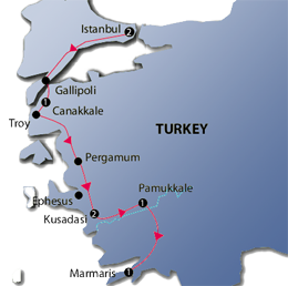 Western Turkey Tour Map